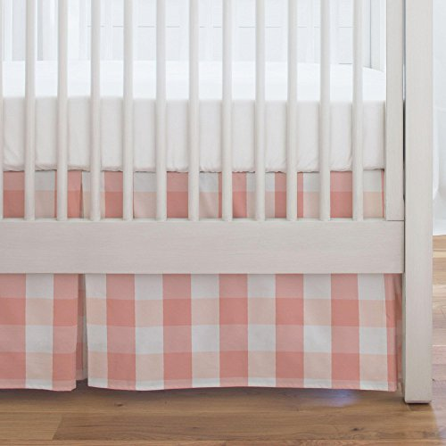 Carousel Designs Light Coral and Peach Buffalo Check Crib Skirt Single-Pleat 17-Inch Length - Organic 100% Cotton Crib Skirt - Made in The USA (Light Carousel)