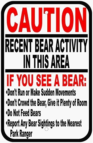 (Vincenicy Metal Sign Great Aluminum Tin Sign Caution Recent Bear Signting Sign Metal Post for Safety Around Habitats of Bears 8 X 12 Inch)