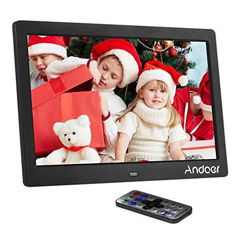 Andoer HD LCD Digital Photo Picture Frame 10 inch Wide Screen High Resolution 1024x600 Clock MP3 MP4 Video Player with Remote Control -