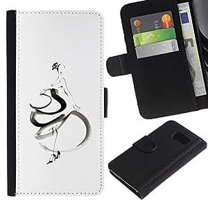 LASTONE PHONE CASE / Lujo Billetera de Cuero Caso del tirón Titular de la tarjeta Flip Carcasa Funda para Samsung Galaxy S6 SM-G920 / Dancer Woman Flamenco White