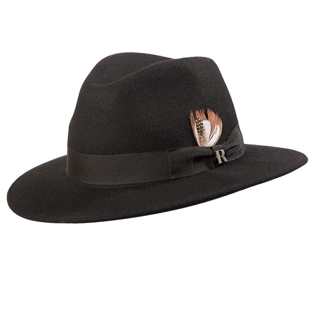 a1e5cdb41 Amazon.com: RACEU ATELIER Memphis Black Hat - Wide Brim Fedora Hat ...