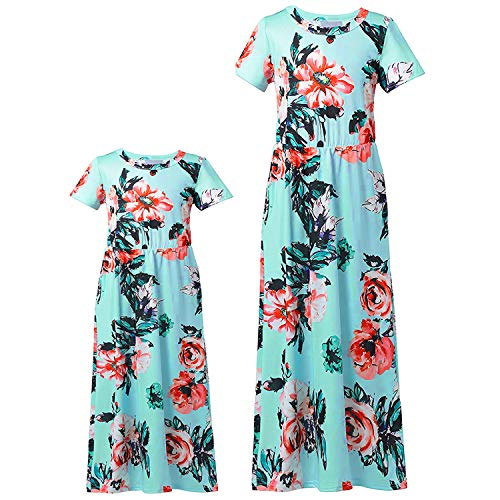 Mommy and Me Dresses Family Matching Dresses Floral Printed Matching Mother Daughter Outfits Maix Dress for Women Girls