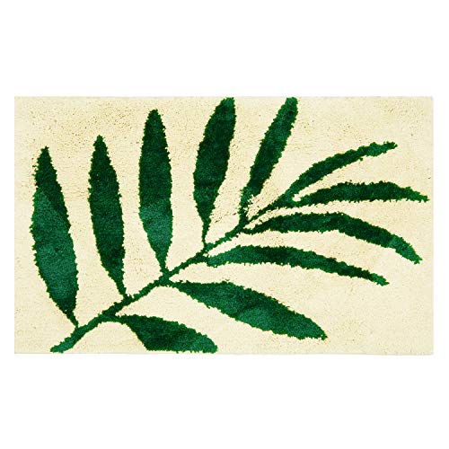 Hi Space Microfiber Tropical Leaf Bath Rug,Soft Non Slip Kids Bath Mats Carpets for Bathroom Tub Shower,Plant Leaves Pattern Machine Washable Water Absorbent,20x31.5