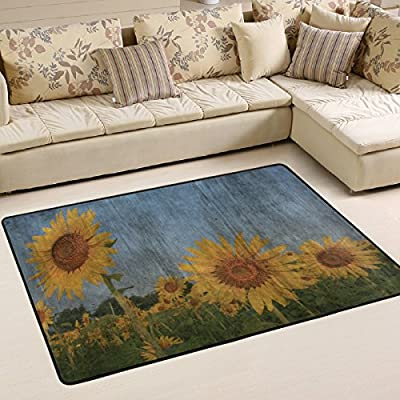 WOOR Sunflower Field In Thailand Painting Living Area Rugs for Living Room Bedroom Dining Office 6 x 4 Feet Modern Floor Mat Home Decor