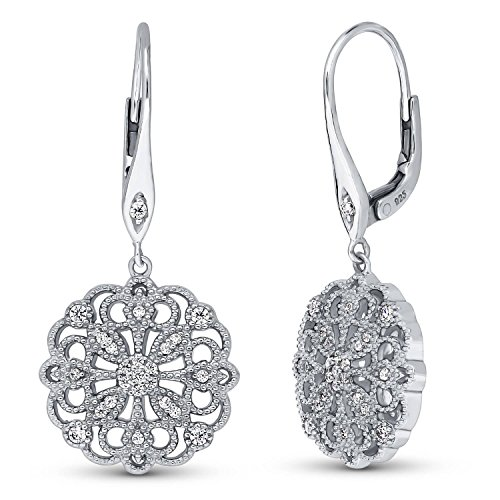 BERRICLE Rhodium Plated Sterling Silver Cubic Zirconia CZ Flower Filigree Leverback Wedding Dangle Drop Earrings