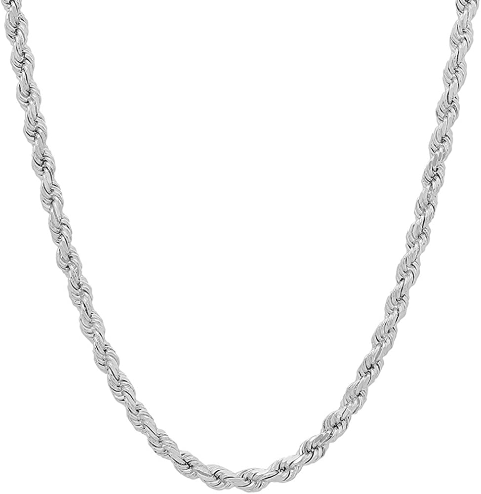 NYC Sterling Unisex Sterling Silver 4MM Diamond-Cut Rope Chain Necklace