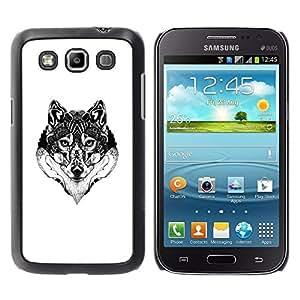 FECELL CITY // Duro Aluminio Pegatina PC Caso decorativo Funda Carcasa de Protección para Samsung Galaxy Win I8550 I8552 Grand Quattro // Wolf Black White Drawing Art Eyes