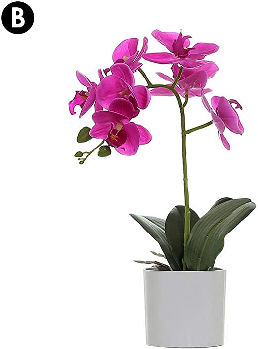 Elegant Artificial Phalaenopsis Bonsai Potted Butterfly Orchid Silk Flower Decor