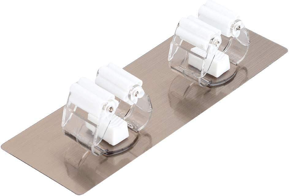 Fdit Mop and Broom Holder Wall Mounted Garden Storage Rack Broom Gripper Holds for Your Home Kitchen and Toilet Pack of 2 White