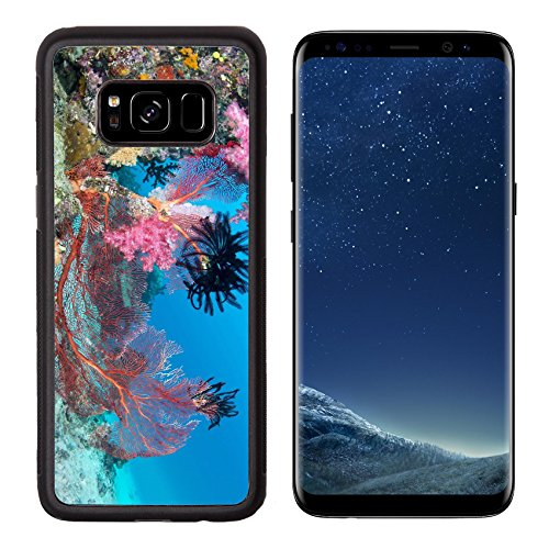 Luxlady Premium Samsung Galaxy S8 Aluminum Backplate Bumper Snap Case IMAGE ID 26103726 Beautiful pink tropical underwater corals with a large red seafan on reef surrounded by clean blue water