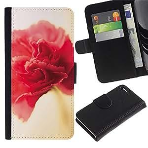 A-type (Flower Spring Red Pink Yellow Petal) Colorida Impresión Funda Cuero Monedero Caja Bolsa Cubierta Caja Piel Card Slots Para Apple Iphone 4 / 4S