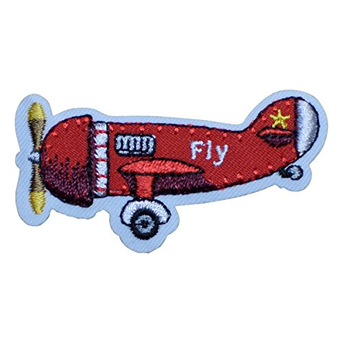 Airplane Applique - Red Airplane Flying Applique Patch (Iron on)