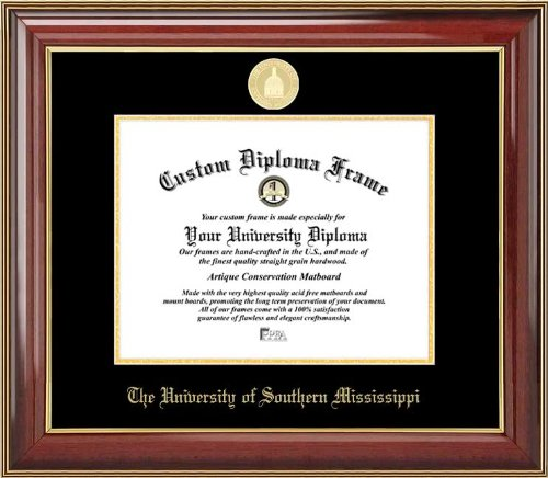 (Laminated Visuals Univ. of Southern Mississippi Golden Eagles - Gold Medallion - Mahogany Gold Trim - Diploma Frame)