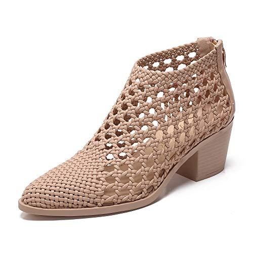 2b163813135 MACKIN J 381-2 Women Hand Crafted Woven Block Bootie Heel (8, Nude)