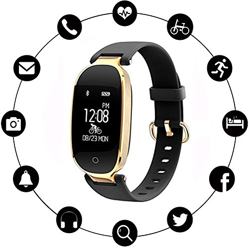 INorton Smart Watch S3 Bluetooth Fitness Tracker with Heart Rate Monitor , Waterproof Smart watch for Fashion Women Ladies,Android (Mirror Watch Phone)