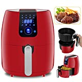 Cheap ZENY 8-in-1 Electric Air Fryer Touch Screen Control Programmable 3.7 Quarts, 8 Cooking Presets for Healthy Oil Free Cooking, 1500W Digital Air Fryer w/Recipe Book and Dishwasher Safe Parts(J-005 Red)