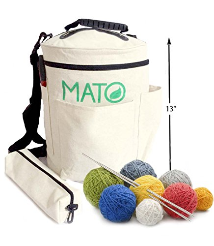 Mato Eco-Friendly Canvas Knitting Bag Yarn Storage Organizer