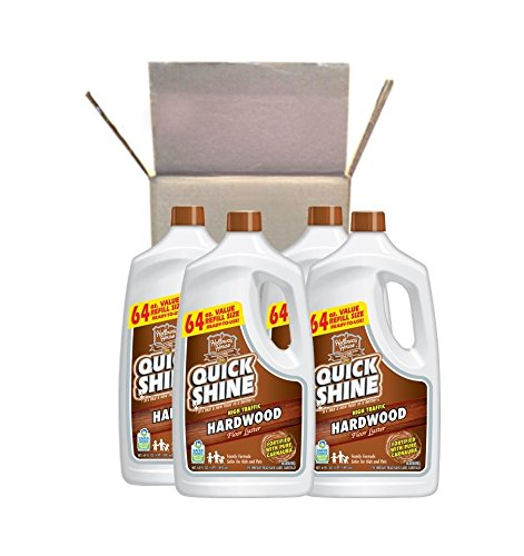 Quick Shine High Traffic Hardwood Floor Luster and Polish, 64 oz Refill Bottle, 4 Pack from Quick Shine