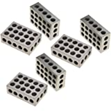 "Anytime Tools 1-2-3 Blocks Matched Pair Hardened Steel 23 Holes (1""x2""x3"") 123 Set Precision Machinist Milling, 3 Pack"