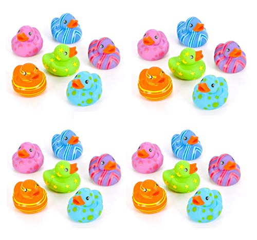 Rubber Mini Favor - Rin 24 Colorful Pattern Rubber Ducky Party Favors by RIN