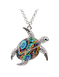 BONSNY Enamel Chain Sea Ocean Floral Turtle Necklace Pendant for Women Kids Girls Charms Fashion Jewelry Gifts