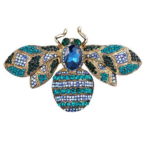 EVER FAITH Gold-Tone Rhinestone Crystal Honeybee Insect Brooch Blue ()