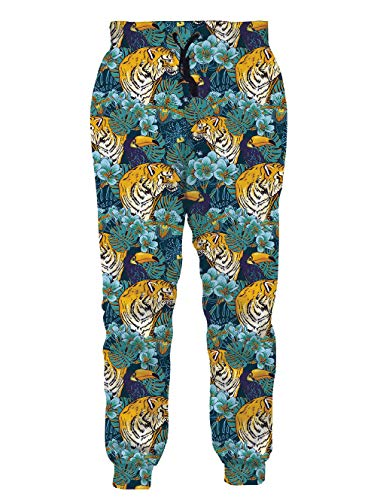Audlt Youth Girl Boy Sports Jogger Tiger Tropical Brown Pants Loose Sweatpants Trouser Elastic Drawstring Tracksuit XXL