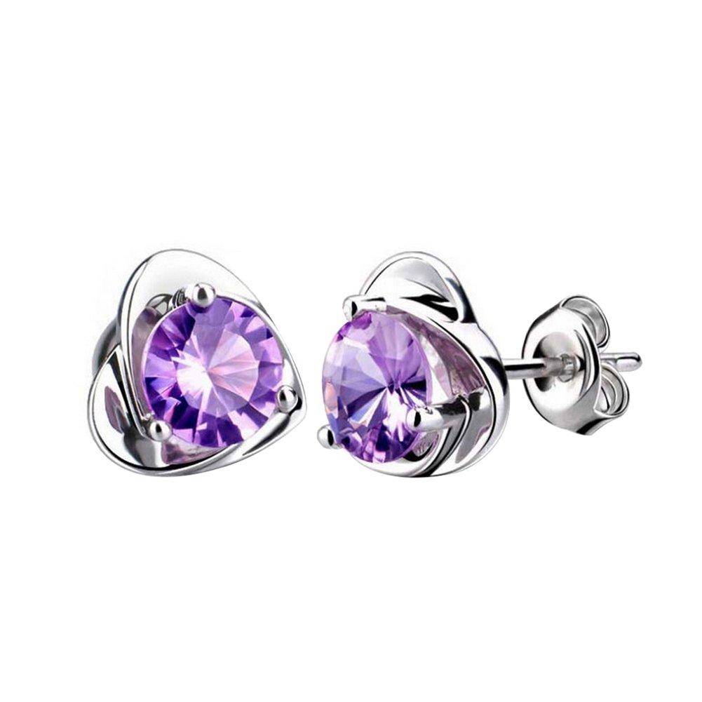 Demarkt Fashion Crystal Earrings Simple Chic Heart-shaped Ear Stud Best Gift (Purple)
