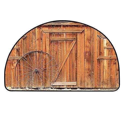 YOLIYANA Western Semi Circle Mat,Ancient West Rural Town Rustic Weathered Wooden Wall Door Wagon Wheel in Front Image Carpet Indoor Mat,27.5