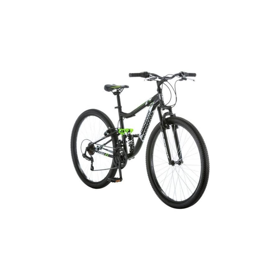"27.5"" Mongoose R4054WMC Ledge 2.1 Men's Bike for a Path, Trail & Mountains,Black, Aluminum Full Suspension Frame, Twist Shifters Through 21 Speeds"