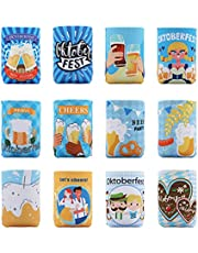 Oktoberfest Can Beverage Coolers – German Bavarian Beer Coolies Cover Party Supplies Decorations 12PCS