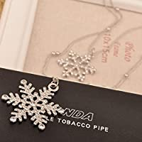 Pesters Women Artificial Diamond Double Snowflake Long Pendant Sweater Necklace