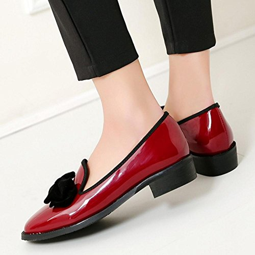 Flat 466 Women On Casual TAOFFEN Pumps Loafer Shoes Shoes Red Slip Retro xHnwB6