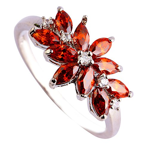Empsoul 925 Sterling Silver Natural Novelty Simulated Marquise Cut Garnet Gemstone Flower Shaped Proposal Ring (Flowers Ring Garnet)