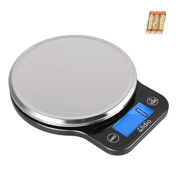 Báscula de cocina digital de Assemer, multifunción de precisión para cocinar y hornear de 1 g a 11 lb, elegante negro, pilas de acero inoxidable incluidas.