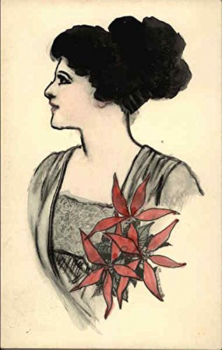 Watercolor Painting of a Woman Profile with Red Flowers Hand Drawn Original Vintage Postcard -