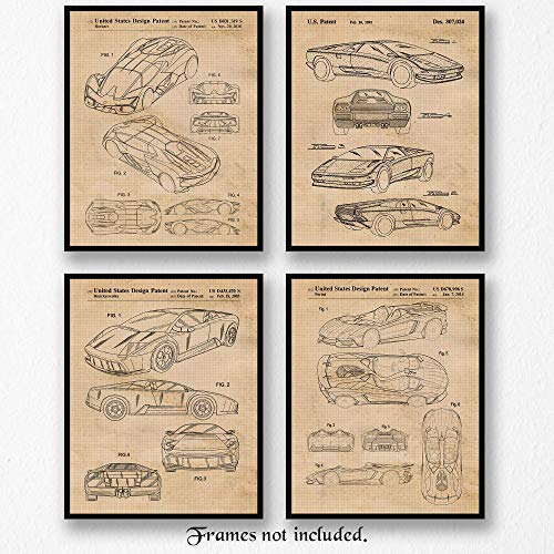 Original Lamborghini Diablo-Aventador-Murcielago-Millennio Patent Poster Prints- Set of 4 (Four 8x10) Unframed Photos- Great Wall Art Decor Gifts Under $20 for Home, Office, Garage, Man Cave, Student
