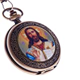Jesus Christ Xmas Easter Pocket Watch Quartz With Chain Full Hunter Bronze Case Arabic Numerals PW-49
