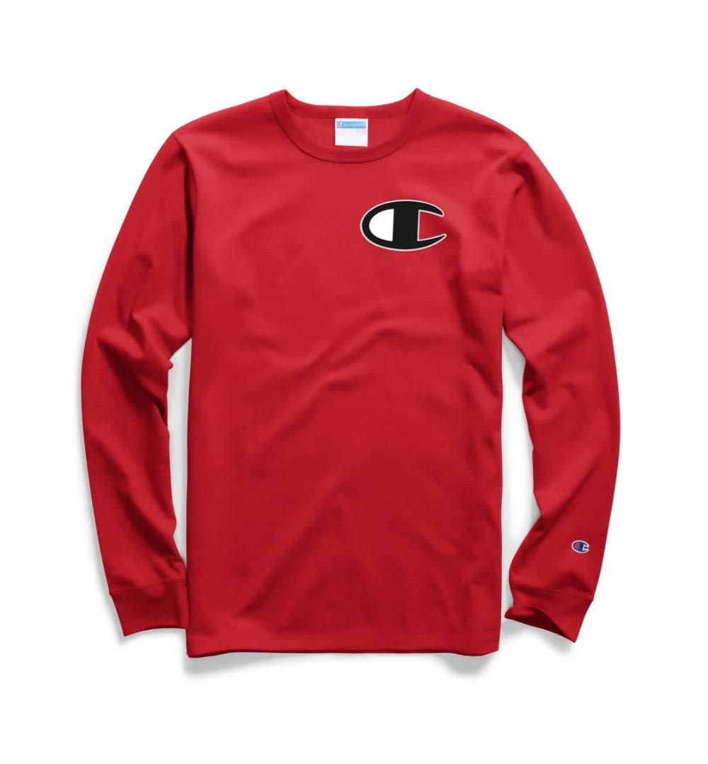 Champion LIFE Men's Heritage Long Sleeve Tee, Team Red Scarlet/c Patch Applique, X-Small