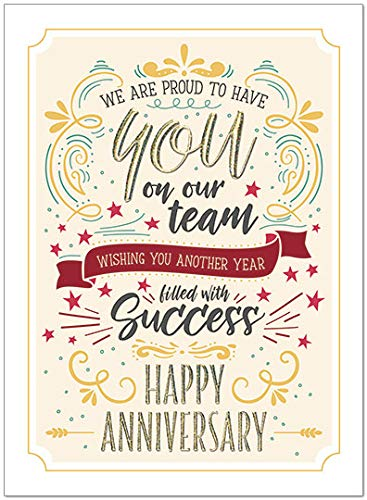 25 Employee Anniversary Cards - Modern Typographic Design - 26 White Envelopes - Eco Friendly