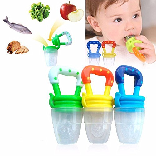 Baby Dummy Pacifier Fresh Food/Fruit Feeder Feeding Nipple Weaning Teething Nipple Teat Pacifier Tether Soother Pack of 4 from Q4U