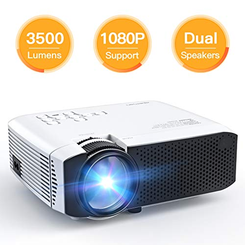 Projector, APEMAN Mini Portable 3500 Lumen Video Projector LED with Dual Built-in Speakers 45000 Hours Support HD 1080P HDMI/VGA/Micro SD/AV/USB, Laptop/TV Box/Phone/PS4 for Home Theater Entertainment ()