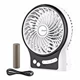 EasyAcc Mini Desktop USB Fan Rechargeable Portable Personal Fan with Upgrade LG 2600mAh Rechargeable Battery, Internal and Side Light 3 Adjustable Speed for Both Indoor and Outdoor - White