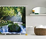 Ambesonne Rainforest Decor Collection, Large Waterfall in a Forest of Green Tree Branches Vibrant Art Prints, Polyester Fabric Bathroom Shower Curtain Set with Hooks, Blue Green White