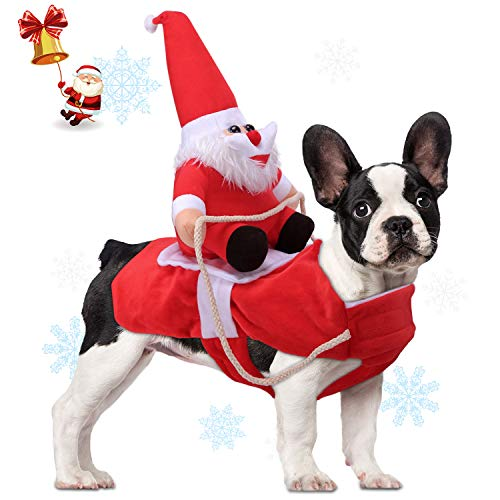 Relting Pet Christmas Costumes Santa Claus Riding on Dog Pet Outfits Winter Warm Apparel Party Dressing Up Clothing for…