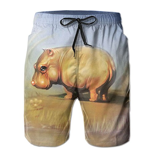 Hippos Skipping - Tydo Quick Dry Beach Shorts Animals Hippo Print Surfing Trunks Surf Board Pants with Pockets for Men L
