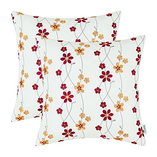 Pack 2, CaliTime Throw Pillow Covers Cotton Canvas 18 X 18 Inches, Blooming Floral Embroidered