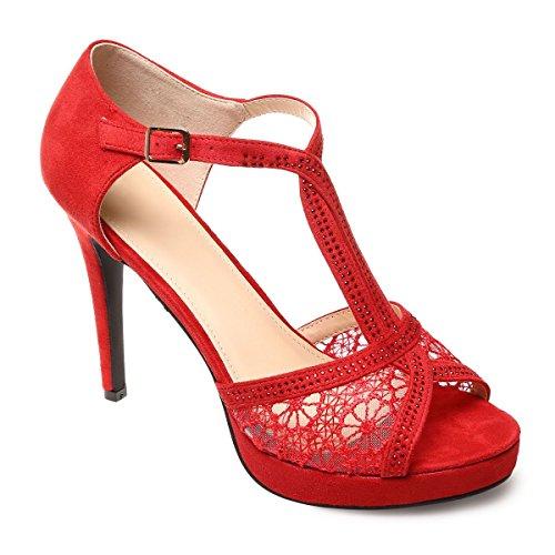 La Modeuse - Sandalias de vestir para mujer Rojo