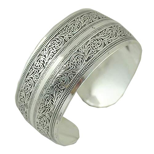 Gypsy Square Flower Metal Tibetan Silver Bracelet Vintage Retro Tribal Fashion Bangle Cuff for Women