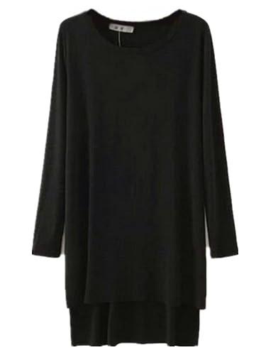 Kerlana T Shirt Mujeres Camisetas De Manga Larga Cuello Redondo Blusas Color Sólido Camisas Tenedor lateral Tops Vintage